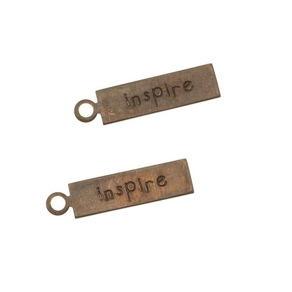 Vintaj Natural Brass Rustic Message Charms Inspire 5 x 21mm (2)