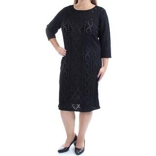 CALVIN KLEIN $139 Womens New 1060 Black 3/4 Sleeve Sheath Dress XL Plus B+B