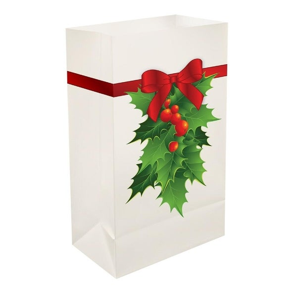 """Pack of 12 Traditional Weather Resistant Christmas Holly Luminaria Bags 10"""" - WHITE"""