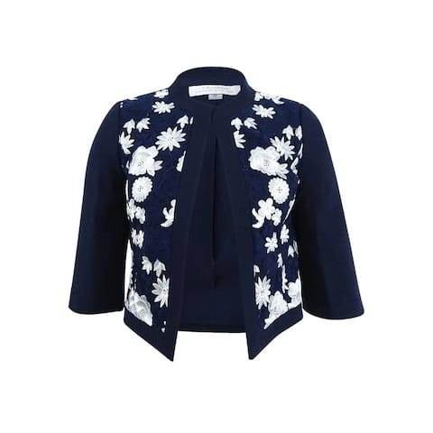 Tahari ASL Women's Embroidered Open-Front Jacket - Navy/White