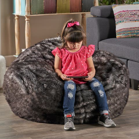 Lyndel 3 ft Faux Fur Bean Bag Replacement Cover (Cover Only) by Christopher Knight Home