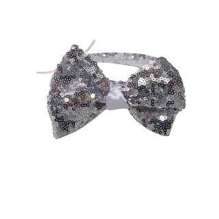 Girls Silver Sequin Bow Headband Fancy Diadem - One Size
