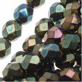 Czech Fire Polished Glass Beads 6mm Round Green Iris (25) - Thumbnail 0