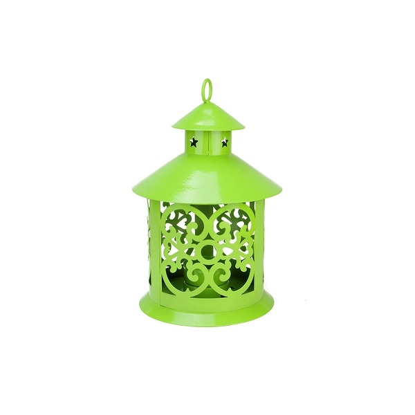 "8"" Shiny Lime Green Votive or Tealight Candle Holder Lantern with Star and Scroll Cutouts"