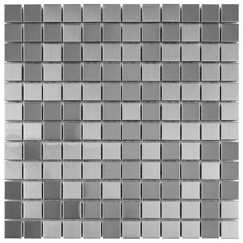 """SomerTile Alloy Square 11-7/8"""" x 11-7/8"""" x 8 mm Stainless Steel Metal Over Porcelain Mosaic Tile"""