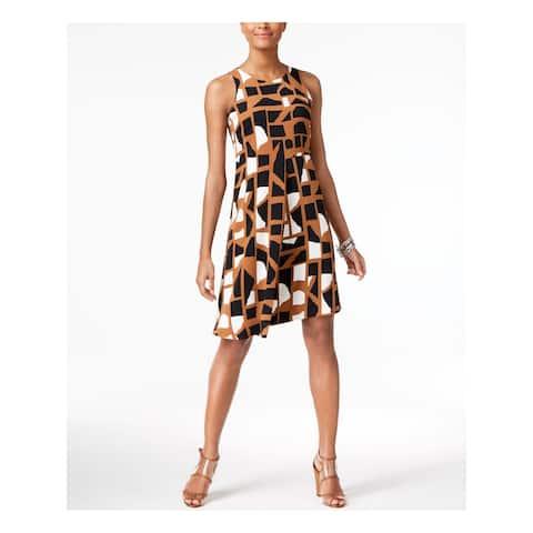 ALFANI Brown Sleeveless Knee Length Shift Dress Size 12