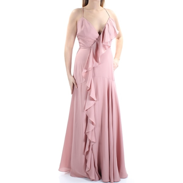 5ec95f23da0ad FAME AND PARTNERS Womens Pink Ruffled Lace-up Back Spaghetti Strap V Neck  Maxi Circle Formal Dress Size: 12