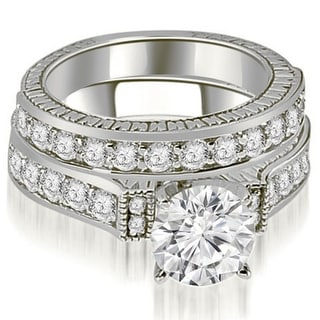 1 65 CT Antique Cathedral Round Cut Diamond Bridal Set In 14KT Gold White H I