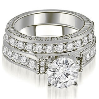 2.15 CT.TW Antique Round Cut Diamond Bridal Set in 14KT White gold - White H-I