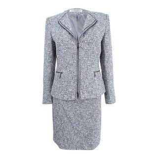 Tahari ASL Women's Petite Boucle Skirt Suit - Grey/Ivory