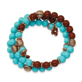 Copper Aqua & Brown Acrylic Beads Wrap Bracelet