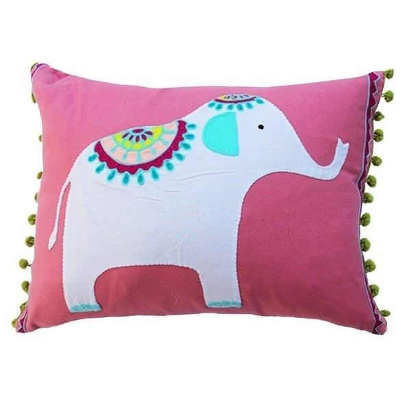 Vivai Home Pink Elephant Applique Rectangle 12x 16 Feather Cotton Pillow