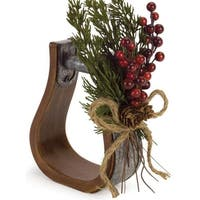 "Pack of 3 Country Rustic Indoor Stirrup with Pine and Berry 10""H - Brown"