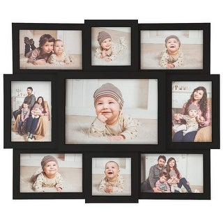 Hello Laura-9 Opening Picture Frame Wall Hanging Collage Black
