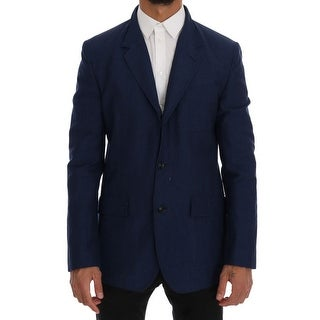 Dolce & Gabbana Dolce & Gabbana Blue Cotton Linen Stretch Blazer Jacket - it48-m