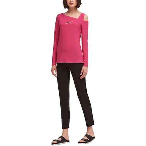 DKNY Womens Blouse Asymmetric Cold Shoulder