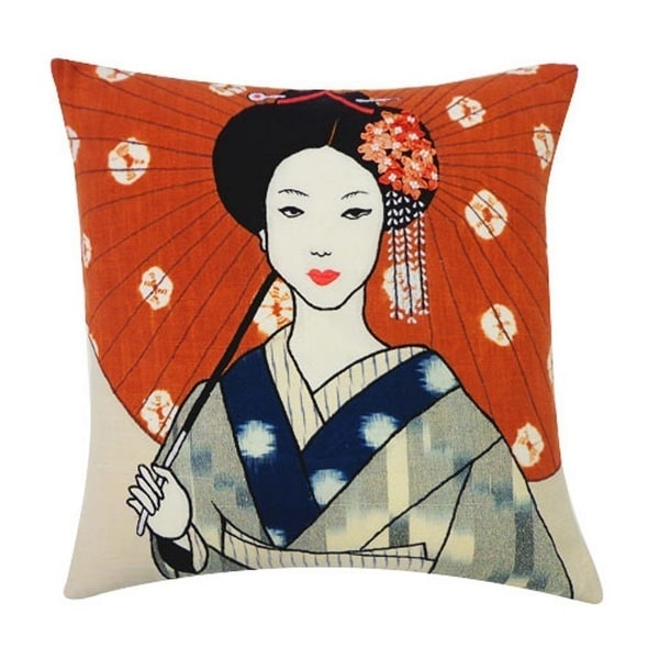 Vivai Home Rust Grey Kimono Pattern 16x 16 Square Cotton Feather Pillow
