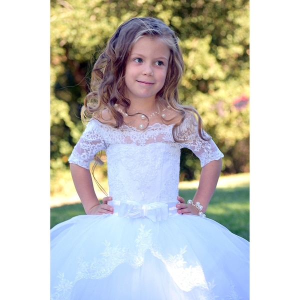 3e300c4aed7 Triumph Dress Girls White Lace Tulle Train Scarlet Flower Girl Dress 7-12