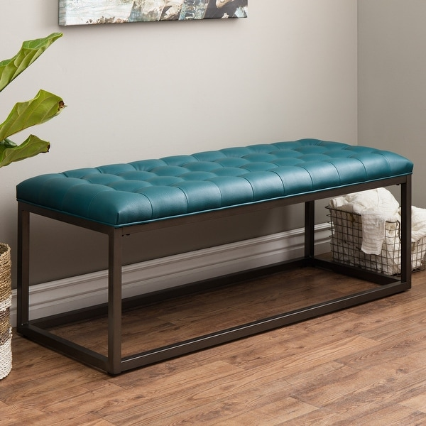 Strick & Bolton Healy Teal Leather Tufted Bench. Opens flyout.