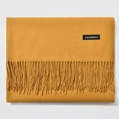 Women Solid Color Winter Imitation Cashmere Tassels Pashmina Scarf Shawl Wrap