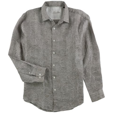 Tasso Elba Mens Marled Button Up Shirt, Beige, Large