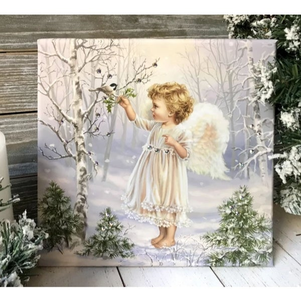 "10"" x 10"" White and Green Little Winter Blessings Embellished Pizazz Wall Art - N/A"