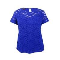 INC International Concepts Women's Plus Floral Lace Top