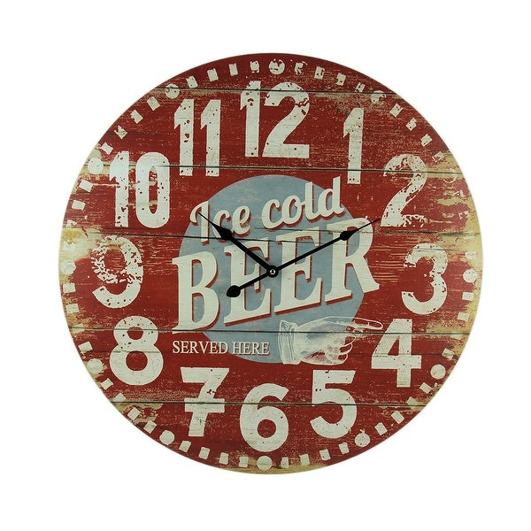 Vintage Red Wood Ice Cold Beer Wall Clock 23 inch - 22.75 X 22.75 X 1 inches
