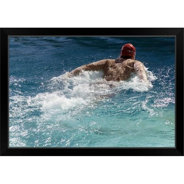 """Close up of man swimming"" Black Framed Print"
