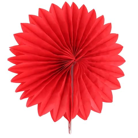Paper Hollow Out Design Folding Fan Flower Red for Party Wedding Home Decor