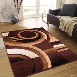 "Allstar Brown Area Rug. Contemporary. Abstract. Traditional. Formal. Shapes. Spirals. Circles (7' 7"" x 10' 6"")"