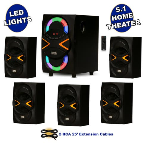 Acoustic Audio 5.1 Bluetooth Speaker System with Lights and 2 Extension Cables