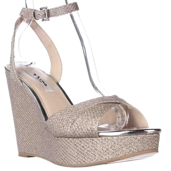 Nina Gianina Wedge Platform Evening Sandals, Silver Diamond - 10 us