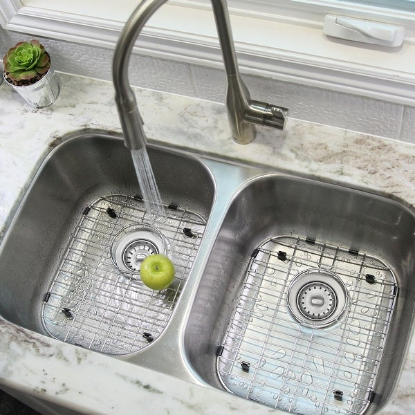 """32""""L x 19""""W Double Basin Undermount Kitchen Sink with Grids and Strainers"""