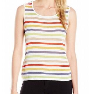 Anne Klein NEW Red Burnt Sienna Women's Size XL Striped Knit Tank Top