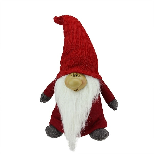 """13.5"""" Red and Gray Portly Smiling Man Gnome Table Top Christmas Figure"""