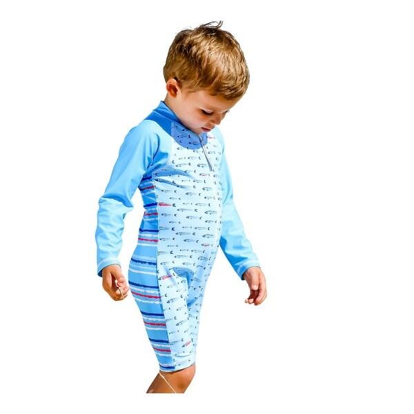 Sun Emporium Baby Boys Aqua Gone Fishing Print Long Sleeve Short Leg Suit