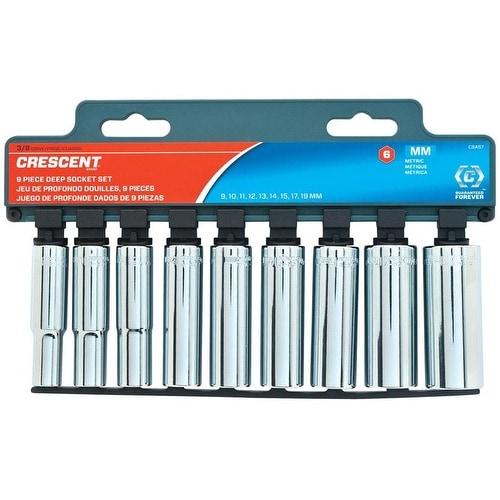 "Crescent 8 Piece 1//2/"" Drive Chrome Metric Deep Socket Set 6 Point CSAS3"