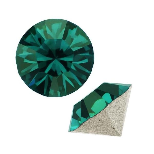 Swarovski Crystal, 1088 Xirius Round Stone Chatons pp32, 24 Pieces, Emerald
