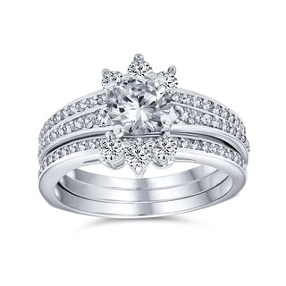 Link to 1.5CT Solitaire AA CZ Halo Engagement Wedding Ring Set Sterling Silver Similar Items in Rings