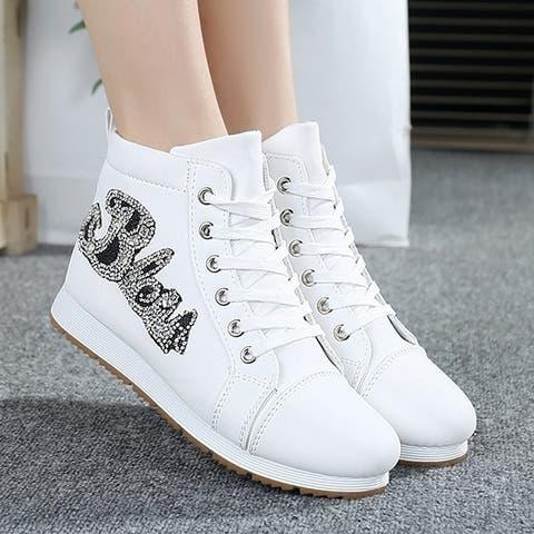 Women Flats Casual Dunk High Shoelaces Comfort Canvas Shoes Lz89