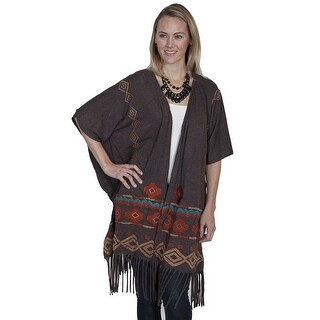Scully Western Sweater Womens Fringe Short Sleeve Solid Open E288