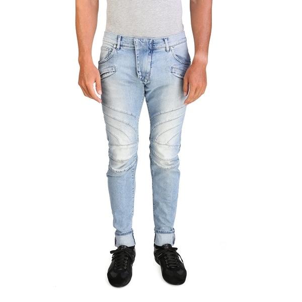 ad3d9643f45 Pierre Balmain Men's Skinny Fit Biker Denim Jeans Pants Light Blue