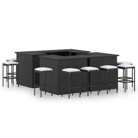 vidaXL 9 Piece Garden Bar Set with Cushions Poly Rattan Black