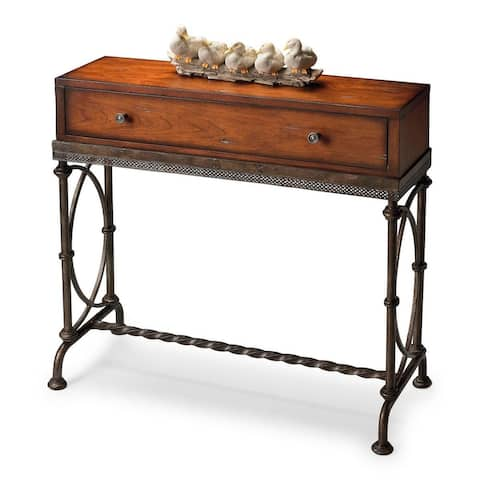 Josef Transitional Metal and Wood Rectangular Console Table - MultiColor