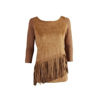 Inc International Concepts Bronzed Camel Faux-Suede Fringe Sweater XS