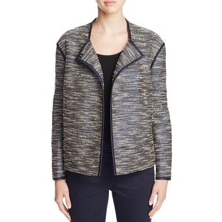 Lafayette 148 Womens Petites Dane Jacket Textured Metallic