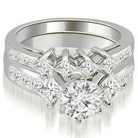 2.85 cttw. 14K White Gold Channel Set Princess and Round Cut Diamond Bridal Set HI, SI1-2