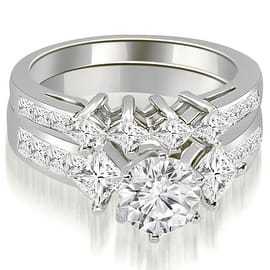 3.35 cttw. 14K White Gold Channel Set Princess and Round Cut Diamond Bridal Set|https://ak1.ostkcdn.com/images/products/is/images/direct/80cd982cde2d16c0f434f4dfece8ebac6730716c/3.35-cttw.-14K-White-Gold-Channel-Set-Princess-and-Round-Cut-Diamond-Bridal-Set-%28I1%2C-H-I%29.jpg?impolicy=medium