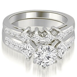 3.35 cttw. 14K White Gold Channel Set Princess and Round Cut Diamond Bridal Set